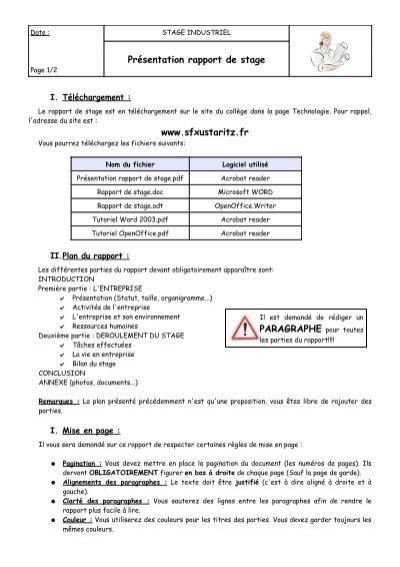 Présentation Rapport De Stage Www Sfxustaritz Fr Paragraphe