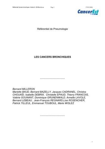 Référentiel de Pneumologie LES CANCERS BRONCHIQUES ...