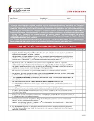 Grille d'évaluation Liste de contrôle des risques