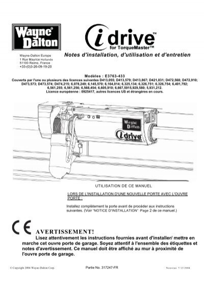 Avertissement wayne dalton - Porte de garage sectionnelle wayne dalton prix ...