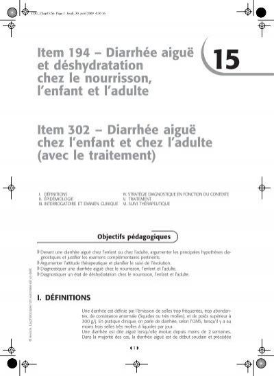 Item 194 – Diarrhée aiguë et déshydratation chez le ... - SNFGE