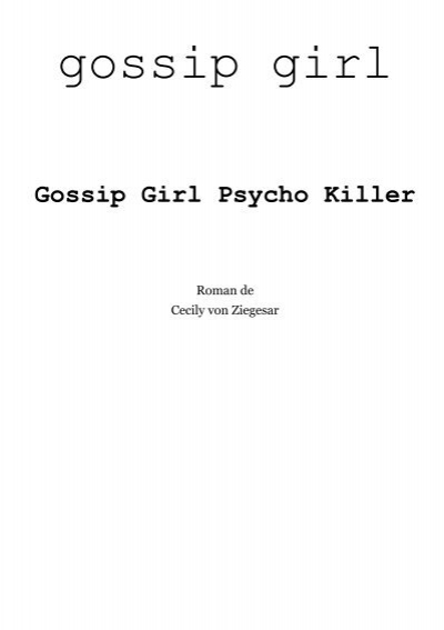 gossip girl psycho killer pdf
