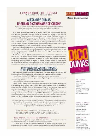 Alexandre dumas le grand dictionnaire de menu fretin for Alexandre dumas grand dictionnaire de cuisine
