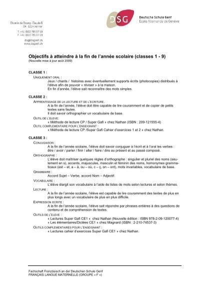 Objectifs A Atteindre A La Fin De L Deutsche Schule Genf