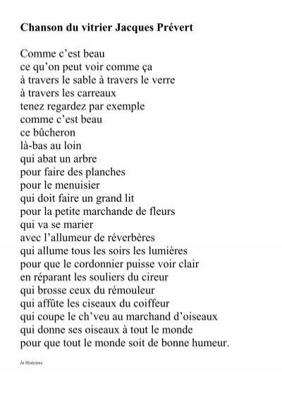 Chanson Du Vitrier Jacques Prévert Comme C'est Beau Ce Qu