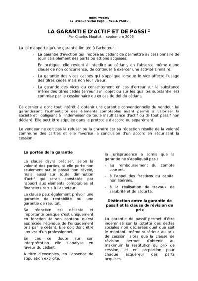 La Garantie D Actif Et De Passif Mhm Avocats
