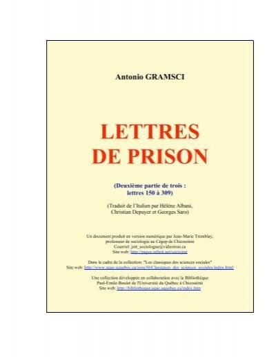 Lettres De Prison 2 3 Les Classiques Des Sciences Sociales Uqac