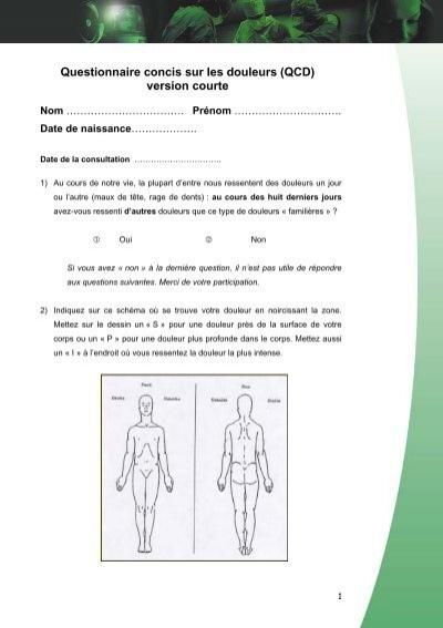 questionnaire concis sur les douleurs