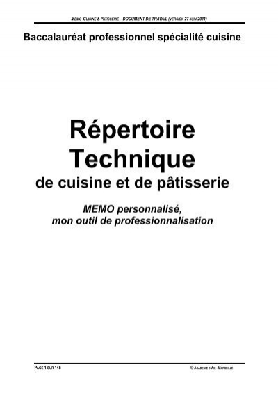 Memo technique acad mie d 39 aix marseille for Academie de cuisine