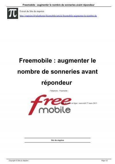 comment augmenter le nombre de sonnerie free mobile