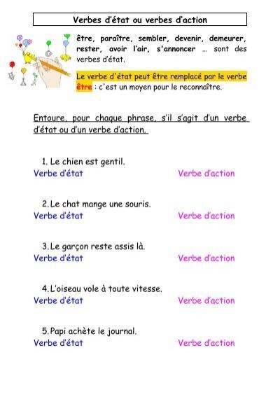 Verbes D Etat Ou Verbes D Action Le Petit Roi Enfant Autiste