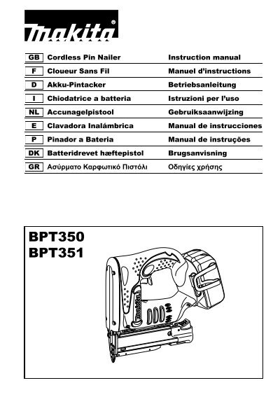 Bpt350 bpt351 makita for Bpt ta 350 istruzioni