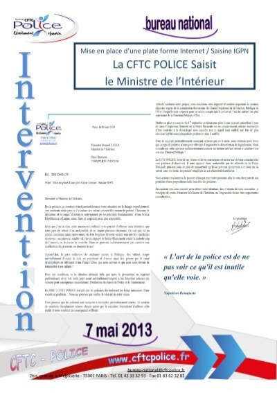 La cftc police saisit le ministre de l 39 int rieur for Le ministre de l interieur
