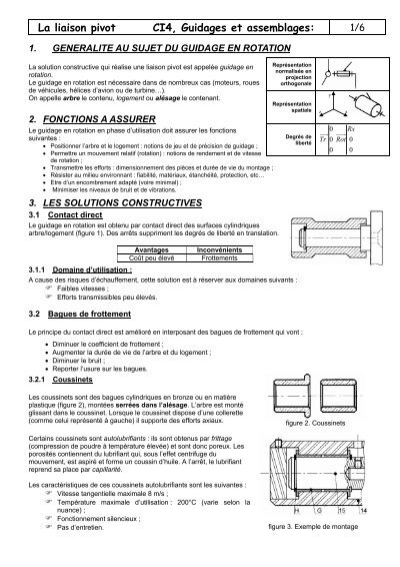 c183cea17c898 La liaison pivot CI4, Guidages et assemblages: