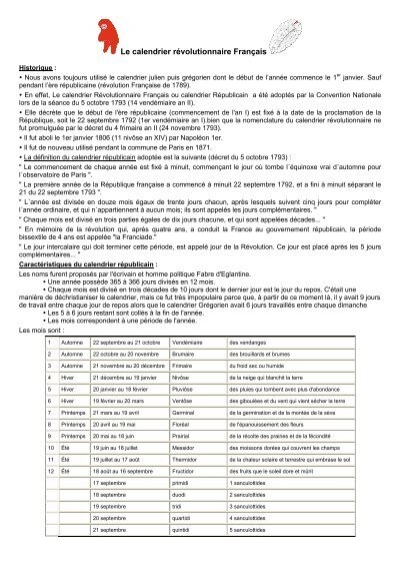 Le Calendrier Revolutionnaire.Le Calendrier Republicain Pdf