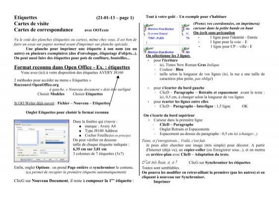 Etiquettes Cartes De Visite Correspondance Format
