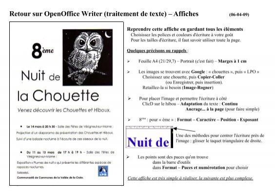 Retour sur openoffice writer traitement de texte affiches - Numerotation des pages sur open office ...