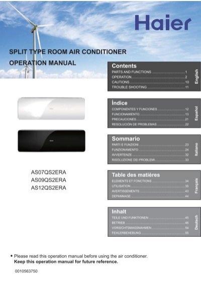 split type room air conditioner operation manual - Haier com