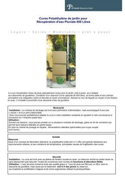 Cuves Polyéthylène De Jardin Pour Récupération Deau
