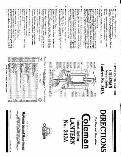 1938 Coleman 243A Lantern Instructions