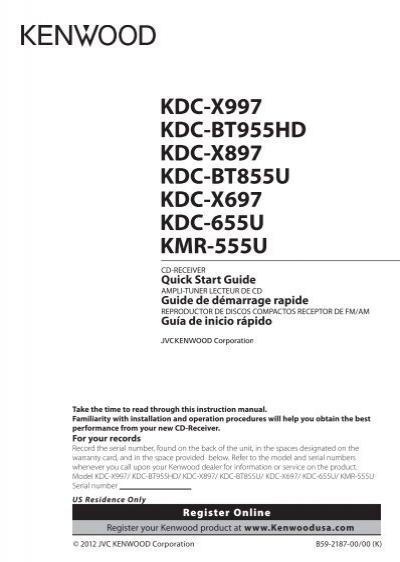 Kdc-x997 Kdc-bt955hd Kdc-x897 Kdc-bt855u