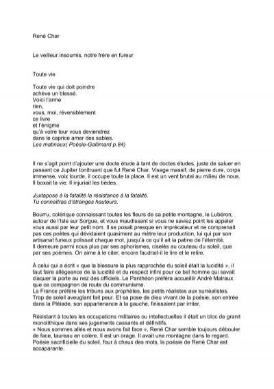 René Char Le Veilleur Insoumis Notre Frère En Esprits