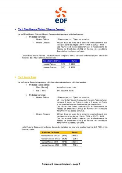 Document non contractuel page 1 tarif bleu heures for Compteur edf heures creuses heures pleines