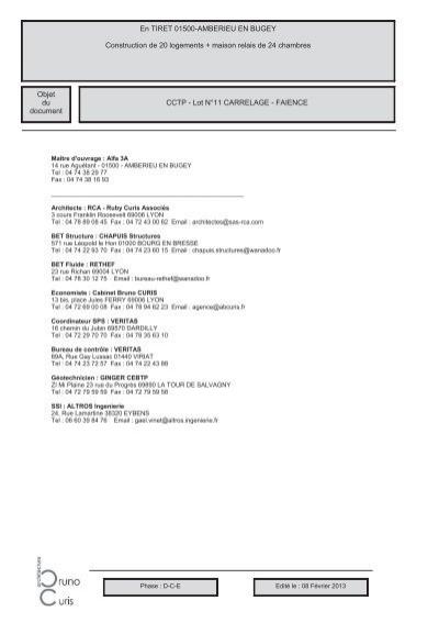 Cctp lot n 11 carrelage faience en tiret alfa3a for Cctp architecte