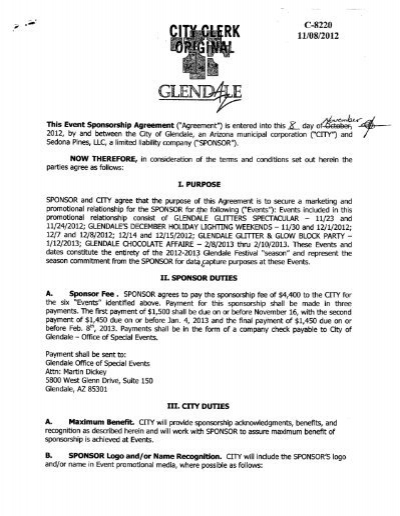 Event Sponsorship Agreement   Sedona Pines LLC   City Of Glendale Awesome Design