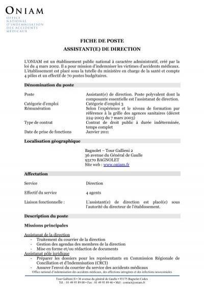 Fiche de poste assistant e de direction - Office national d indemnisation des accidents medicaux ...