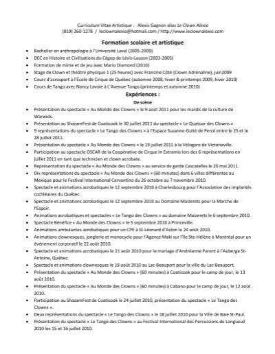 cv artistique d u0026 39 alexio  pdf