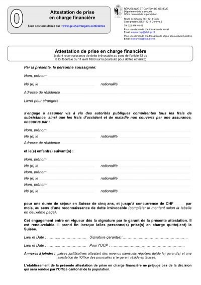 Attestation de prise en charge financi re etat de gen ve - Office cantonale de la population geneve ...