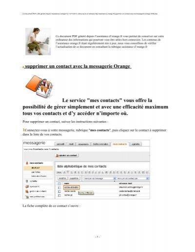 supprimer un contact avec la messagerie orange assistance orange. Black Bedroom Furniture Sets. Home Design Ideas