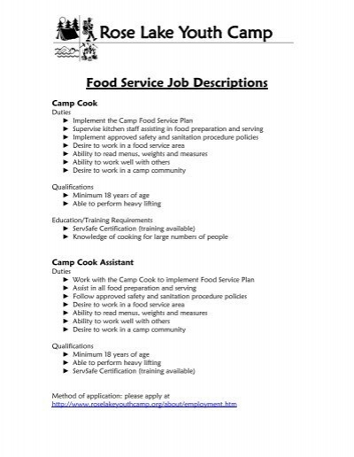 food service job descriptions rose lake youth camp resume - Food Preparer Job Description