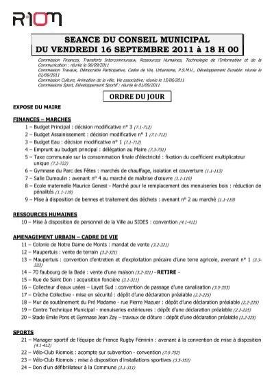 ff3318574b1 Ordre du jour - Ville de Riom