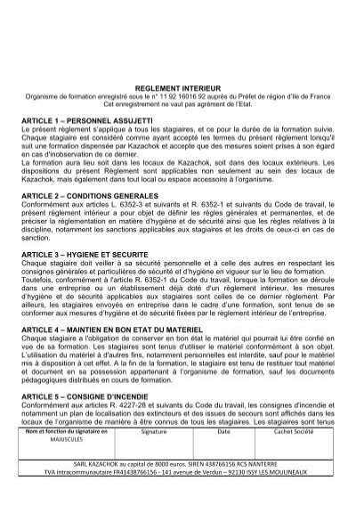 Reglement interieur article 1 personnel kazachok for Reglement interieur ce
