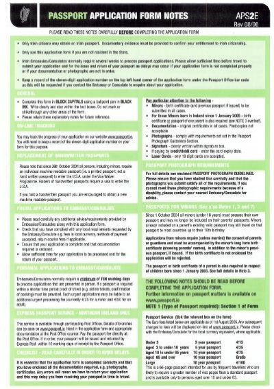 Passport Application Form Notes Aps2e Department Of Foreign