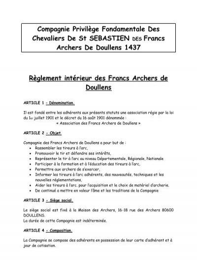 R glement int rieur des francs archers de doullens 2011 for Reglement interieur association pdf