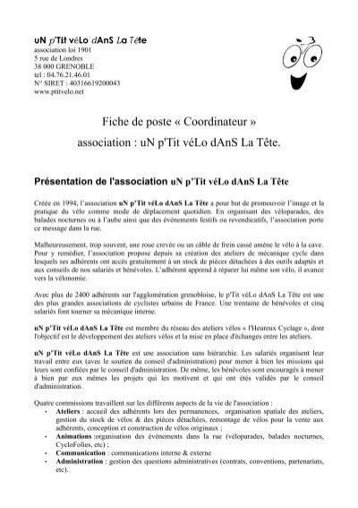 fiche de poste auditeur interne pdf
