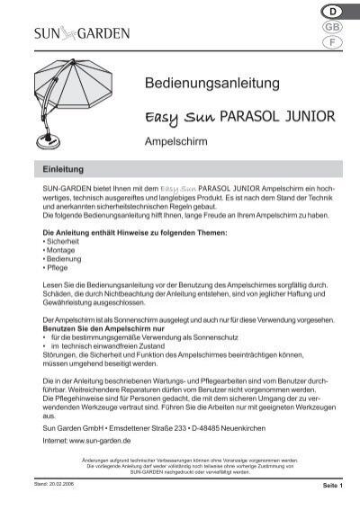 Bedienungsanleitung Easy Sun PARASOL JUNIOR - SUN GARDEN ...
