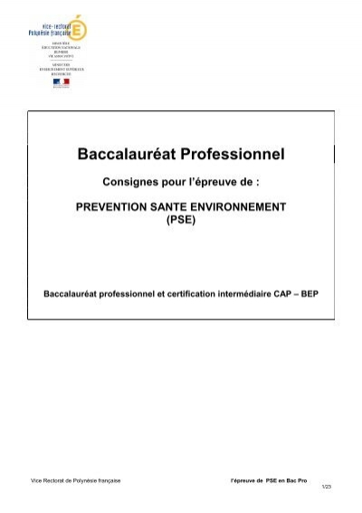 Evaluation de la pse en bac pro session 2013 vice - Pse bac pro ...