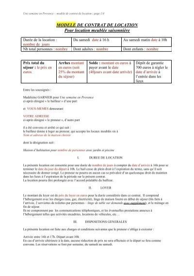 Modele de contrat de location pour - Contrat de location meublee saisonniere ...