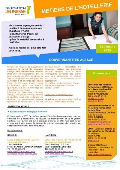 Metiers de l 39 hotellerie r seau information jeunesse d 39 alsace - Chambre des metiers d alsace apprentissage ...