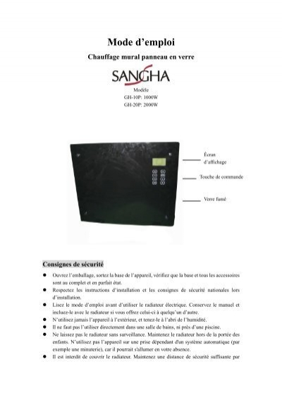 Manual For Gh10p French Electro Depot