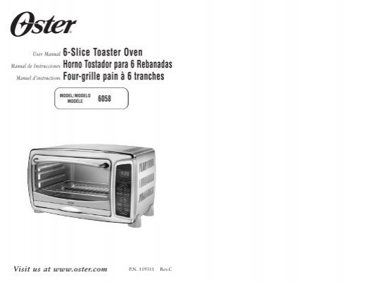 Instruction Manual For Oster Toaster Oven
