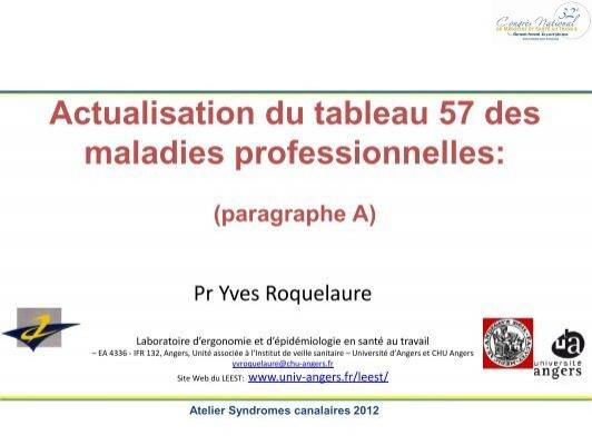 Actualisation Du Tableau 57 Des Maladies Professionnelles