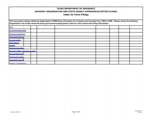 Form Filings Texas Department Of Insurance Texas Gov