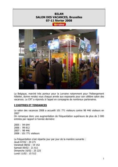 Bilan salon des vacances bruxelles 08 tourisme en lorraine - Salon tourisme belgique ...