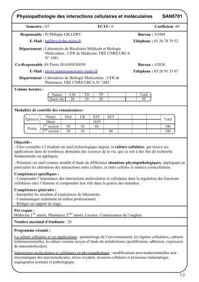 San0701physiopathologie Des Interactions Cellulaires Et