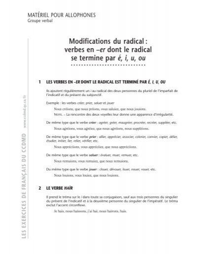 Verbes En A Er Dont Le Radical Ccdmd